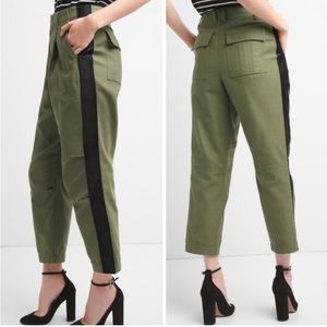 GAP Olive Pleat Front Satin Striped Chinos